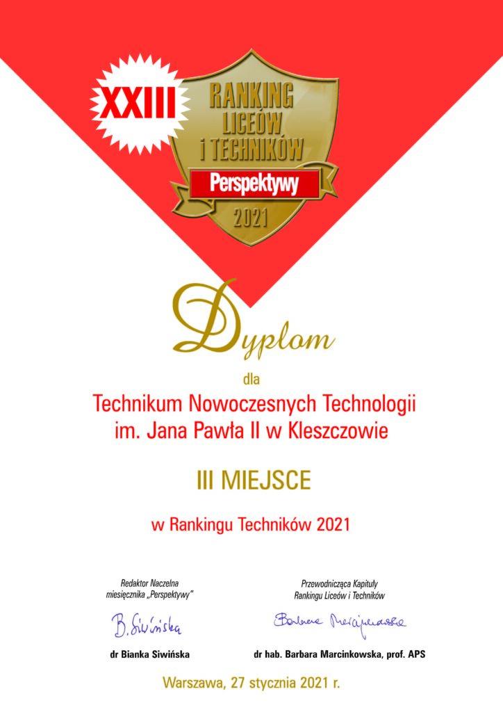 Dyplom Perspektywy - III miejsce dla TNT Kleszczów - ranking techników w polce 2021