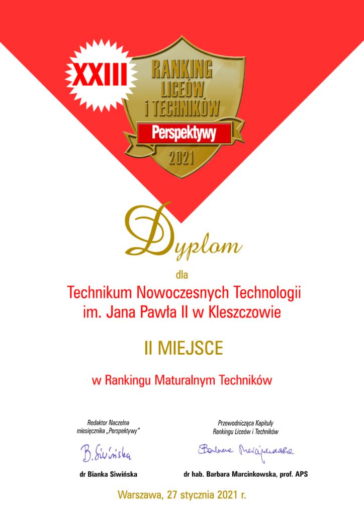 Dyplom Perspektywy - II miejsce dla TNT Kleszczów - ranking maturalny