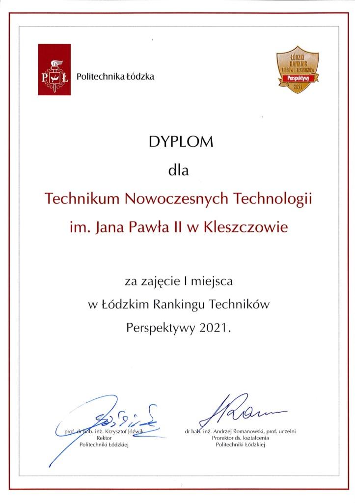 Dyplom dla Technikum Nowoczesnych Technologii w Kleszczowie za zajęcie I miejsca w Łódzkim Rankingu Perspektyw