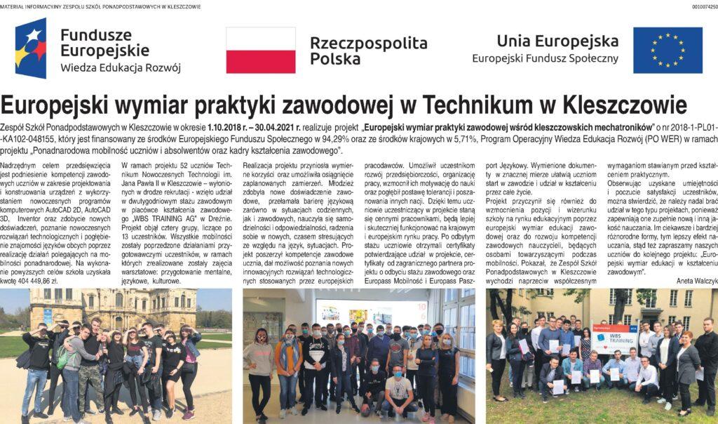 Skan artykułu w Dzienniku Łódzkim o projekcie PO WER realizowanym w szkole.
