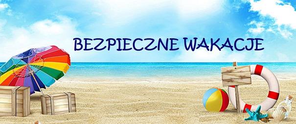 """Banner z napisem """"Bezpieczne wakacje"""" w tle plaża"""