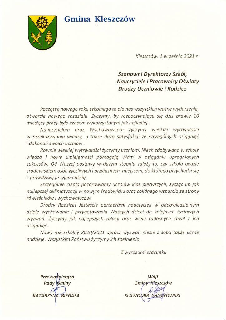 List wójta gminy kleszczów oraz przewodniczącej rady gminy kleszczów do dyrektorów szkół, nauczycieli, pracowników oświaty, uczniów oraz rodziców.