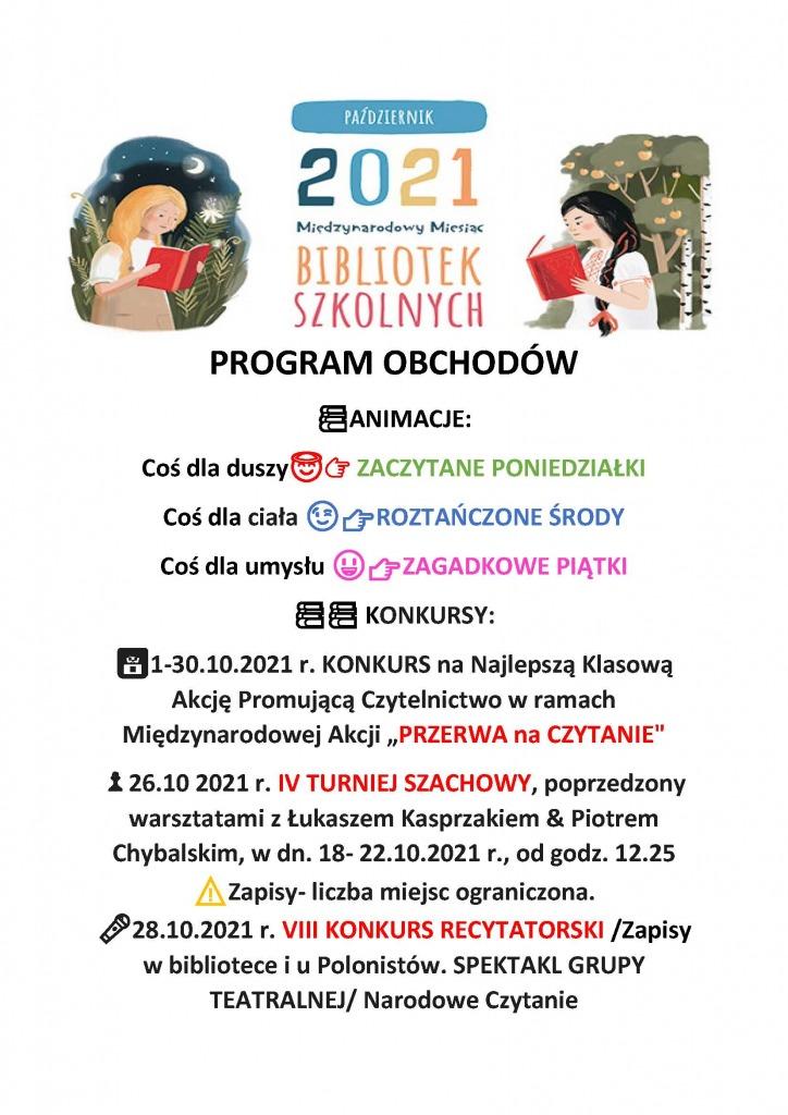 Plakat obchodów miesiąca bibliotek szkolnych